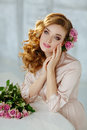 Portrait Of A Beautiful Blonde Girl With Delicate Pink Roses On Royalty Free Stock Photos - 91480068