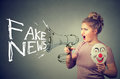 Woman Screaming In A Megaphone Spreading Fake News Stock Image - 91480471