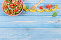 Fruit And Vegetable Salad, Fork With Tape Measure, Slimming And Nutrition Concept, Copy Space For Text On Boards Stock Image - 91480481