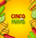 Cinco De Mayo Background With Mexican Traditional Symbols Royalty Free Stock Image - 91481296