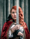 Warrior Woman With Sword In Medieval Clothes Portrait Stock Image - 91505281