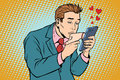 Online Date And Love A Man Kisses A Womans Hand Via Smartphone Royalty Free Stock Image - 91508846
