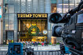 Media Camera Equipments Recording The Front Of Trump Tower, Residence Of President Elect Donald Trump - New York, USA Stock Photo - 91515800