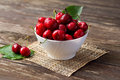 Bowl With Red Cherries Stock Images - 91519774