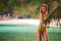 Beautiful Woman In Bikini Under Tropical Palm. Green Background With Copy Space Stock Photography - 91534052