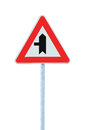 Crossroads Warning Main Road Sign With Pole Post, Left Hand Exit, Vertical Isolated Closeup Royalty Free Stock Images - 91571969