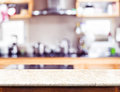 Empty Marble Table Top And Blurred Kitchen Bokeh Light In Backgr Stock Image - 91573361
