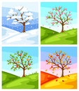 Four Seasons. Illustration Of Tree And Landscape In Winter, Spring, Summer, Autumn. Stock Images - 91578614