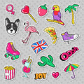 Fashion Girls Badges, Patches, Stickers With Flamingo Bird, Pizza Parrot And Heart Stock Photos - 91616793