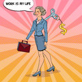 Mechanical Business Woman Going To Work With Dollar Sign Key On Her Back. Pop Art Illustration Stock Photos - 91617013