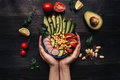 Healthy Food Concept. Hands Holding Healthy Salad With Chickpea And Vegetables. Vegan Food. Vegetarian Diet Royalty Free Stock Image - 91626256