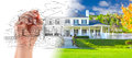 Hand Drawing Custom House Design With Gradation Revealing Photog Royalty Free Stock Image - 91630396
