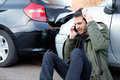Man Calling First Aid After Car Crash Royalty Free Stock Photo - 91646905