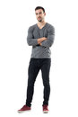 Successful Young Handsome Casual Man With Crossed Arms Smiling Stock Image - 91647831