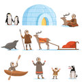 Eskimo Characters In Traditional Clothing And Their Arctic Animals. Life In The Far North. Set Of Colorful Cartoon Royalty Free Stock Photo - 91659035
