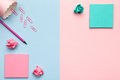 Sticky Notes With Crumbled Paper Balls On Pastel Background Royalty Free Stock Photography - 91659277