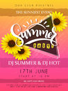 Vector Illustration Of Summer Party Poster With Triangle Frame And Sunflower Flowers And Hand Lettering Text - Summer Stock Images - 91660714
