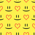 Abstract Sketch Of The Eyes And Smiling Mouth. Contour Of The Heart. Seamless Pattern. Stock Image - 91679491