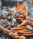 BBQ Chicken Legs And Pork Meat Royalty Free Stock Images - 91681929