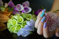 Beautiful Nail Art Manicure With Flowers.Nail Care. Stock Image - 91682511