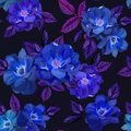 Abstract Seamless Pattern With  Hand Drawn Blue Roses On Royalty Free Stock Photo - 91683155