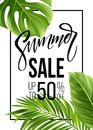 Sale Banner, Poster With Palm Leaves, Jungle Leaf And Handwriting Lettering. Floral Tropical Summer Background. Vector Royalty Free Stock Photography - 91684037