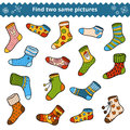 Find Two Identical Pictures, Education Game, Set Of Socks Royalty Free Stock Photos - 91685188