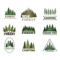 Tree Outdoor Travel Green Silhouette Forest Badge Coniferous Natural Logo Badge Tops Pine Spruce Vector. Stock Image - 91696001