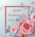 Postcard To Mother`s Day, With Paper Flowers. Illustration Can Be Used In The Newsletter, Brochures, Postcards, Tickets Stock Photos - 91709363