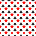 Seamless Pattern Background Of Poker Suits - Hearts, Clubs, Spades And Diamonds - Arranged In The Rows On White Royalty Free Stock Photo - 91711345
