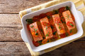 Delicatessen Food: Salmon Fillet Baked With Tomatoes And Rosemar Royalty Free Stock Photo - 91717435