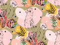 Hand Made Vector Abstract Collage Seamless Pattern With Tropical Parrots,cactus Plants And Succulent Flowers Isolated On Royalty Free Stock Images - 91727779