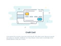Flat Line Icon Concept Of Credit Or Debit Card.  Vector Illustration Stock Image - 91732381