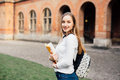 Female College Student. Happy Girl In European University For Scholarship. Stock Photography - 91749892