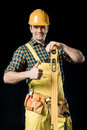 Worker With Level Tool Stock Photos - 91782863