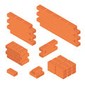 Brick Set And Wall Isometric View. Vector Royalty Free Stock Photos - 91784318