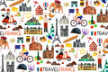 France Landmarks And Travel Map. Vector Illustration. Royalty Free Stock Photo - 91799885