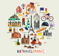 France Landmarks And Travel Map. France Travel Icons. Vector Illustration. Royalty Free Stock Photo - 91799995