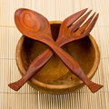 Wooden Spoon, Fork And Basi On Bamboo Royalty Free Stock Photos - 9186678