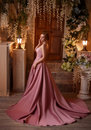 Beautiful Woman In A Luxurious Pink Dress Stock Image - 91802901