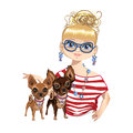 Fashionable Girl With A Little Dog Royalty Free Stock Images - 91817489
