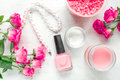 Rose Salt And Cream For Nail Care In Spa On White Background Top View Royalty Free Stock Image - 91824476