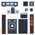 Home Sound System Stereo Flat Vector Music Loudspeakers Player Subwoofer Equipment Technology. Stock Image - 91831061