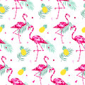 Tropical Trendy Seamless Pattern With Pink Flamingos, And Palm Leaves. Summer, Exotic Hawaii Art Background, Memphis Royalty Free Stock Photos - 91842008