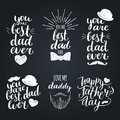 Happy Fathers Day Vintage Logotypes Set. Vector Calligraphy Collection, You Are Best Dad Ever, Love Me Daddy Etc. Royalty Free Stock Image - 91899356