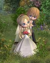 Cute Toon Wedding Couple With Garden Background Royalty Free Stock Photos - 9193708