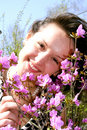 Young Lady In Pink Rhododendrons Royalty Free Stock Photos - 9196878