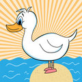Duck Out Of Water Cartoon Character Royalty Free Stock Images - 9197329