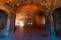 16th Century Military Fortress Basement Tunnels In Historic Site Atop Montjuïc Hill, Near Balearic Sea In Spain. Stock Photos - 91910133