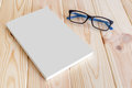 Book And Glasses Mockup On Wooden Background. Stock Images - 91913094